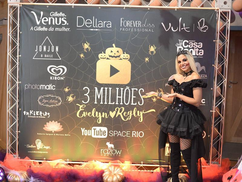 as empresas que apoiaram a festa de 3 milhões de inscritos da evelyn regly: gillette vênus, dellara cosméticos, forever liss professional e loja rio belleza