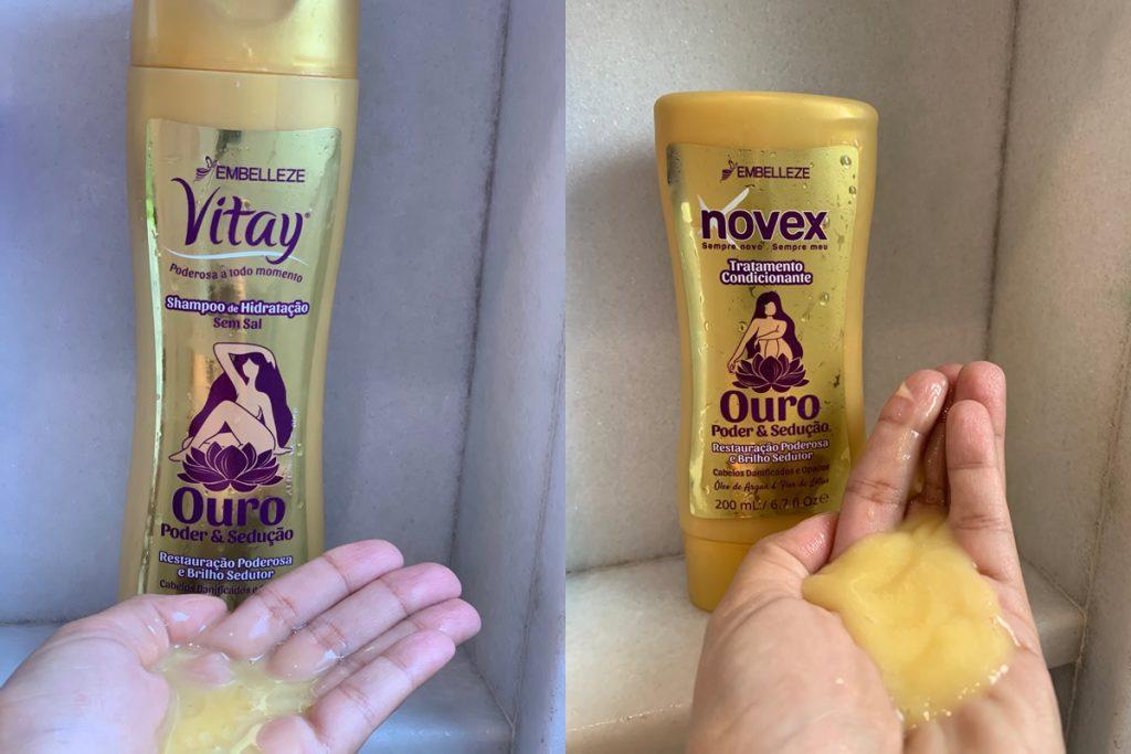 consistência do shampoo e condicionador Novex Ouro