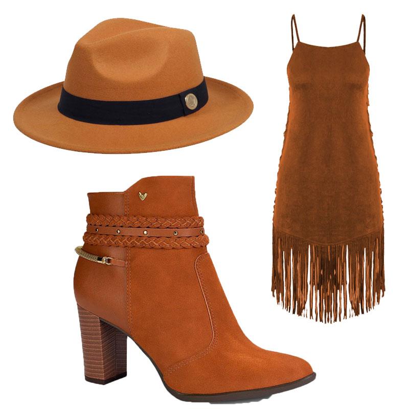 b1baf13a1a Então que tal um vestido bem country e um chapéu para combinar com essa  Botinha de cano curto Mississipi. Essa Sandália Azul Marinho ...